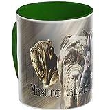 Tazza in ceramica a forma di cane Mastino, Napoletano-01, Verde foresta