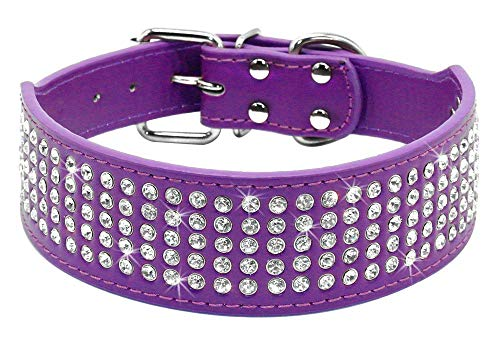 Glittel Collares de Perros de Cuero Grandes Mediano pequeños Cuello Ajustable con Colgante número DIY 8 Colores 5 tamaños