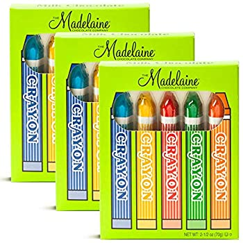 Madelaine Solid Premium Milk Chocolate Crayons Wrapped In Red Green Yellow Blue Orange Italian Foils - 3 Pack