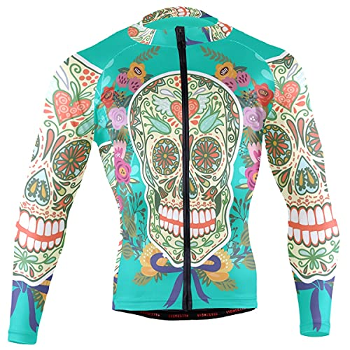 Sugar Skull Dia De Los Muertos Men's Cycling Jerseys Biking Shirts Long Sleeve Bike Clothing Full Zipper Bicycle Jacket