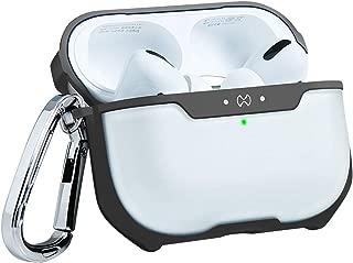 AirPods Pro ケース 充電ケースカバー 超薄型 透明 PC 保護カバー (前のLEDライトが見える) フレキシブルTPUフレーム&キーチェーン付き 軽量 傷や衝撃に強い 落下防止 2019年 AirPods Proに適用