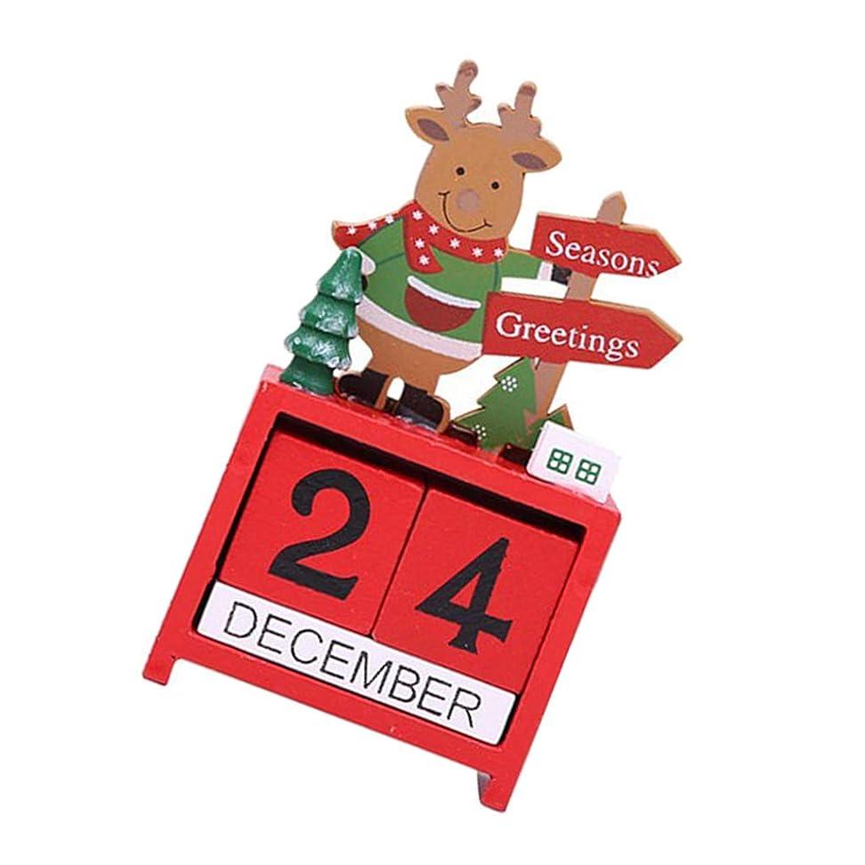 永久カレンダーブロック 木製 卓上カレンダー クリスマス用 デコレーション - エルク