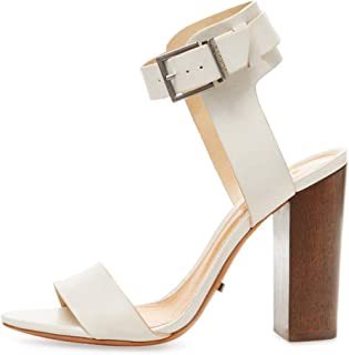 Schutz Charlise Dawn Tan Brown Leather Wooden block Heel Ankle Strap Sandals