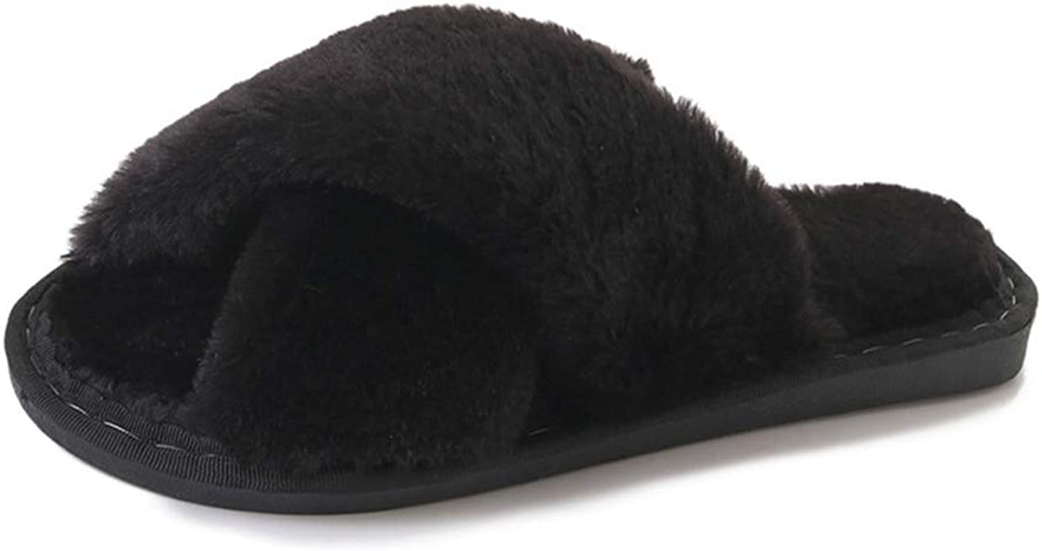 NOMIMAS Winter Fashion Women Home Slippers Faux Fur Warm shoes Woman Slip on Flats Female Fur Flip Flops