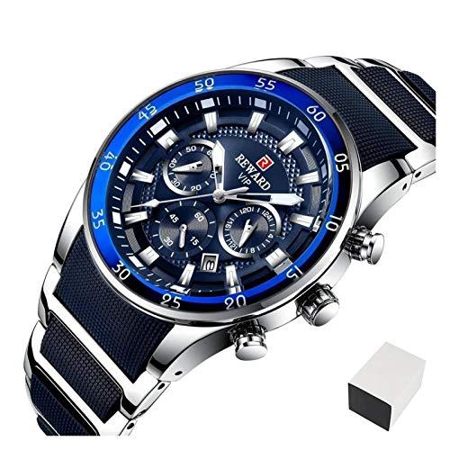 TXOZ Reloj de Lujo Moda a Prueba de Agua Hombre Relojes de Cuarzo de Acero Completo Cronógrafo Muñeca de Negocios Reloj de Pulsera (Color : Silver Blue Box)
