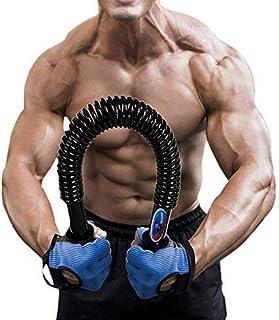 Portzon Unisex Youth Practical Flexible Strength 60kg Arm Chest Shoulder Spring Exercise Fitness Training Bar Python Power Twister, Black