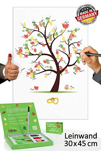 Hochzeitsbaum Fingerabdruck 45x30 INKL Zubehör-Set GRATIS (Stempelkissen+Stift+Anleitung+Hochzeitsbuch+...) - Hochzeitsbaum mit Ringen - Wedding Tree - Hochzeitsspiel und Hochzeitsgästebuch
