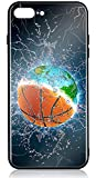 HUNTHAWK iPhone 8 Plus Case iPhone 7 Plus Case with Anti-Drop TPU Hard PC Scratch-Proof Tempered Glass Protector Fit Apple 7 Plus Case for Girls Boys Earth and Basketball in Water