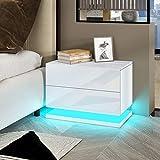 UNDRANDED Moderne Hochglanz Nachttisch Kommode mit 2 Schubladen Ablagetisch Beistelltisch mit RGB LED Streifen für Schlafzimmer Wohnzimmer Wohnmöbel 50x35x43cm (Weiß)