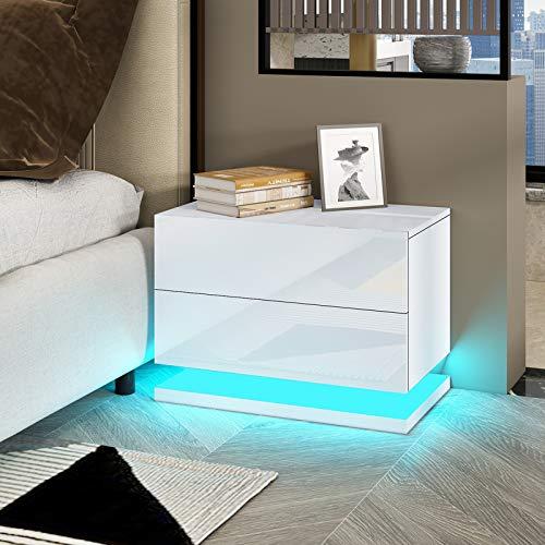 UNDRANDED Moderne Hochglanzfront Nachttisch Kommode mit 2 Schubladen aus Holz Sofa Tisch mit RGB LED Streifen für Schlafzimmer Wohnzimmer Wohnmöbel 50x35x43cm (Weiß)
