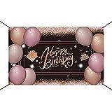 JOERRES Cartel decorativo para fiesta de cumpleaños, cartel de feliz cumpleaños, gigante para interior y exterior, decoración de fiesta de cumpleaños, atmósfera de fiesta, cuerda de 110 x 180 cm