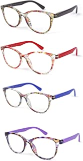 LIANDU 4-Pack O Gafas De Lectura Para Mujeres Bisagras De Primavera Gafas De Lectura De PC De Alta Calidad 3006 +2.0