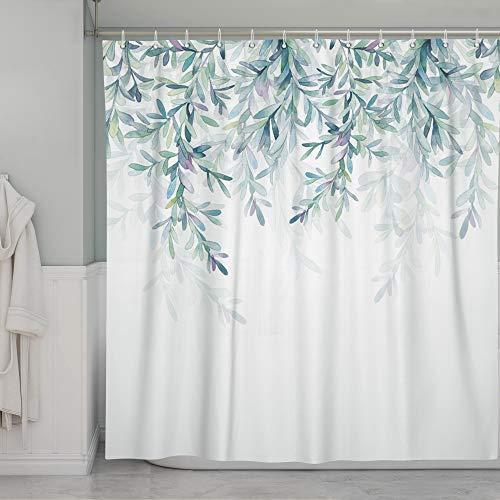 SUMGAR Duschvorhang mit grünen Blättern für Badezimmer, natürlicher Frühlingszweig, weiß, Vorhang-Set mit Haken, 183 x 183 cm