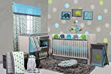 Bacati 10-Piece Elephants Nursery-in-A-Bag Crib Bedding Set with Long Rail Guard, Aqua/Lime/Grey