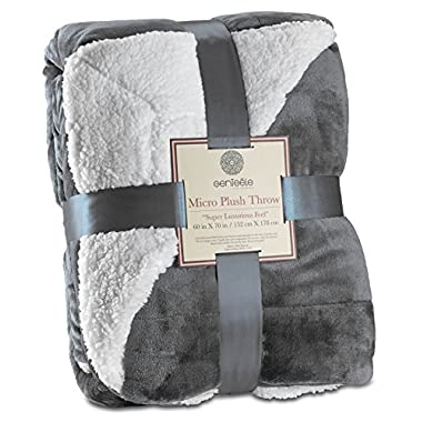 Genteele Sherpa Throw Blanket Super Soft Reversible Ultra Luxurious Plush Blanket (50  X 60 , Gray)