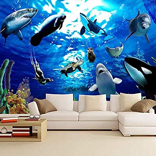 3D Wallpaper für Schlafzimmer Customized Unterwasser World Seal Dolphin Spielplatz Schwimmhalle Wandbild Hotel Them Wanddekoration fototapete 3d Tapete effekt Vlies wandbild Schlafzimmer-200cm×140cm