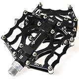 RockBros Fahrradpedale 9/16' MTB BMX DH Platform Pedale Ultralleicht Aluminum (Schwarz)
