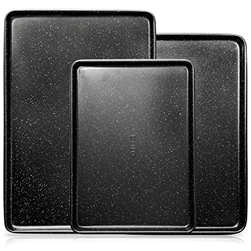 BINO Bakeware Nonstick Cookie Sheet Baking Tray Set, 3-Piece - Speckled Black | Premium Quality Baking Sheet Set with Nonstick Technology | Non-Toxic