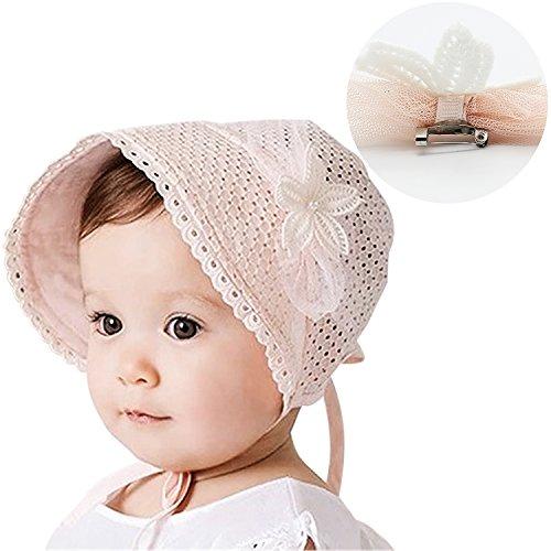 HBF Cappellino Neonata Elegante Accessori per Bambina Berretto Cotone Rosa cappello Bambina Vintage Adatto per Primavera/Estate / Autunno Taglia Unica