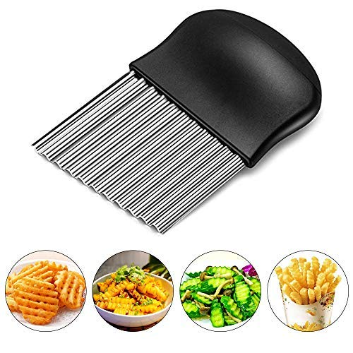 Starchef Stainless Steel Crinkle Cutter Potato Chips Cutter Vegetable Wavy Blade Cutter(Black)