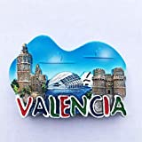 Weekinglo Souvenir Imán de Nevera Valencia España 3D Resina Artesanía Hecha A Mano Turista Viaje Ciudad Recuerdo Colección Carta Refrigerador Etiqueta