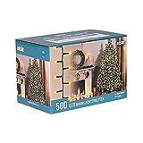 ANSIO Árbol de Navidad Luces 500 LED 12.5m Blanco cálido Luces interiores/exteriores Decoraciones Luces de cuerda de hadas Alimentación principal 41 pies Longitud encendida Cable verde