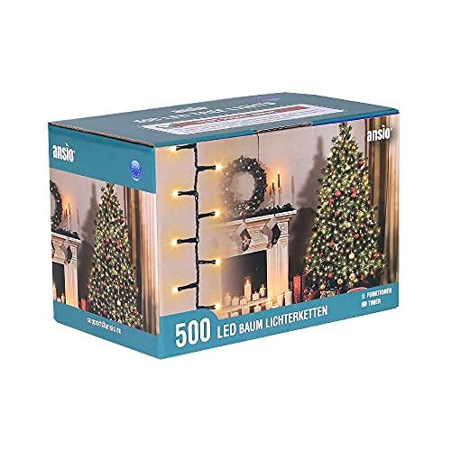 ANSIO Luci Natale Esterno 12.5m 500 LED Luci Albero di Natale Natalizie Luminose Bianco Caldo Luci Natalizie da Esterno/Interno Ideale per Mantello, Balcone Lucine Luminoso
