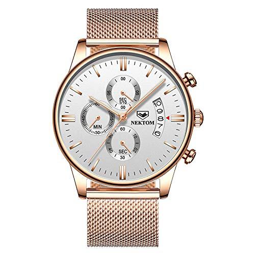 Reloj automático para Hombre Relojes de Cuarzo Informales de Cuero -E