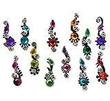 FunkOn® Indian Bindi Pack Stick On Rainbow Glitter Crystal Bindi Stickers Festival Face Gems Multicoloured Diamante Bridal Bindis Forehead Tikka Face Body Make up accessories JewelsD10