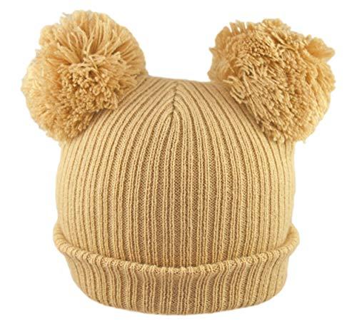 Pesci - Gorro de punto para bebé o niña con pompones de doble pompón, gorro de lana y canalé para invierno recién nacido hasta 12 meses