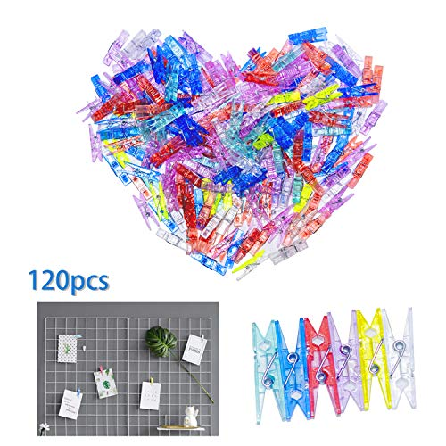 ANGMLN 120 Pieces Photo Clips Mini Colored Plastic Clips for String Fairy Lights Photo Paper Peg Pin Clips
