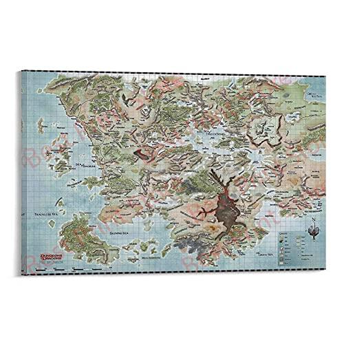 XFVS Best Print Store - Póster decorativo de mazmorras y dragones, mapa de Faerun para pared de 50 x 75 cm