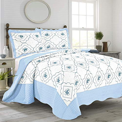 AMEHA Quilted Bedspreads King Size Bed Throw 230 cm x 250 cm with Pillow...
