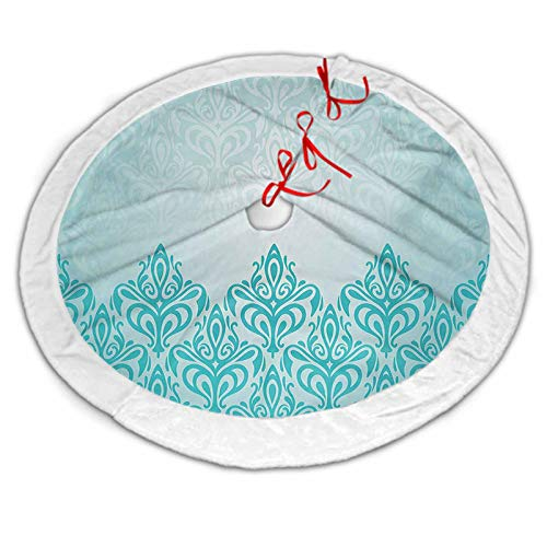 Turquoise Luxury Tree Skirt Retro Style Medieval European Victorian Gradient Royal Pale Patterns Artwork Print for Xmas Party Decoration Blue 48 Inch