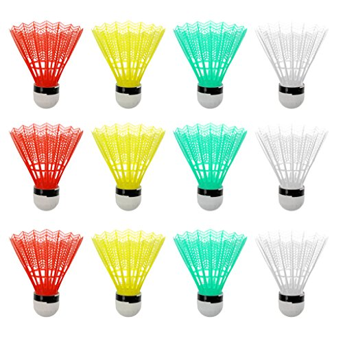 MagiDeal 12er Set Bunte Badminton Shuttlecocks Federbälle Indoor Outdoor Sport Training Spiel (Kunststoff)