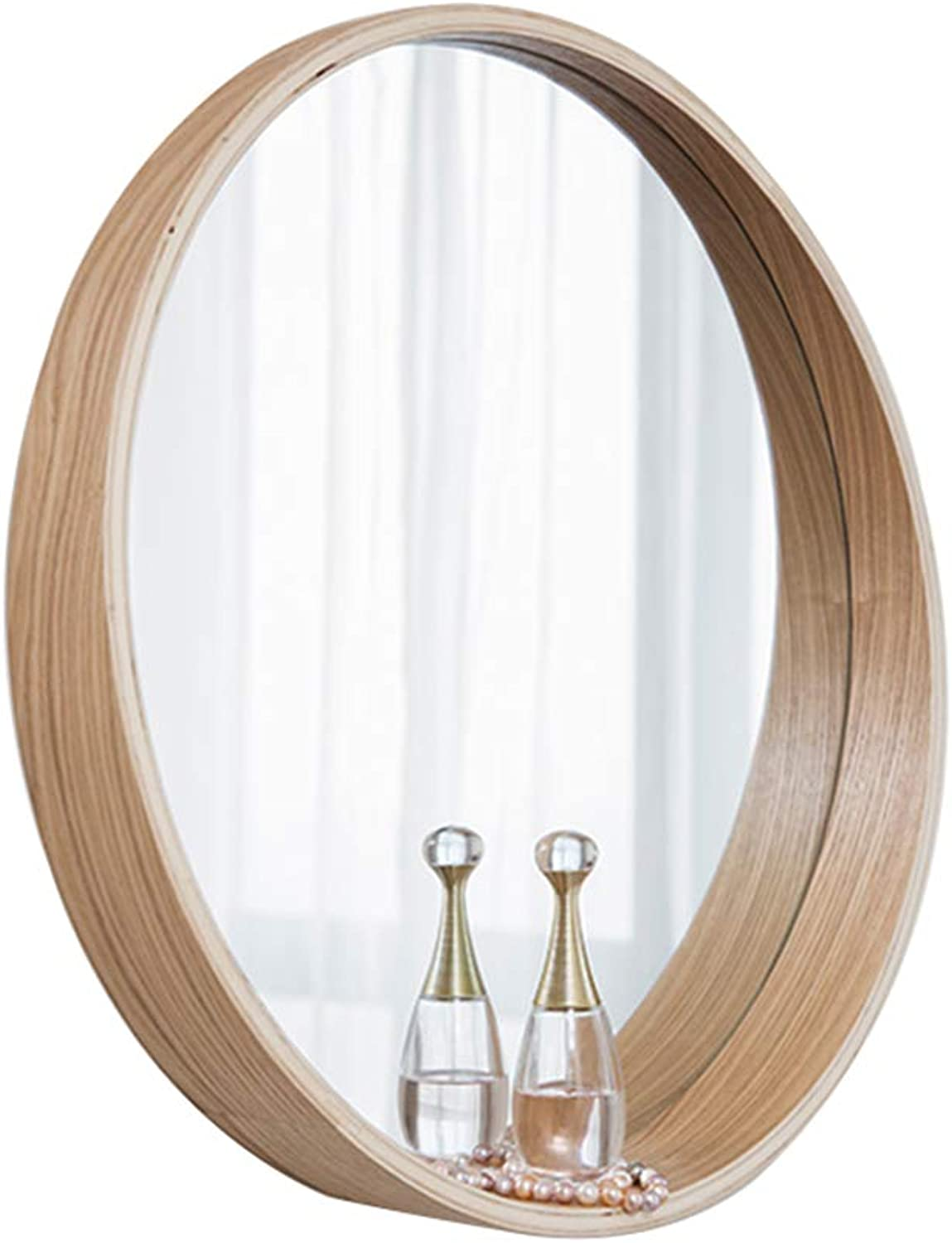 YONGMEI Bathroom Bedroom Solid Wood Frame Round Vanity Mirror Storage Wall Mirror Simple Mirror (color   Wood color, Size   50  80CM)