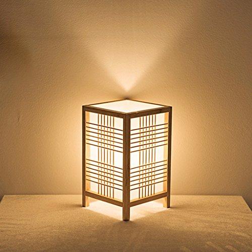 Lámpara de mesa de madera cuadrada retro creativa japonesa, estudio de estilo simple Lámpara de mesita de noche, habitación de té cálida Lámpara de escritorio de restaurante Club, E27, color de madera