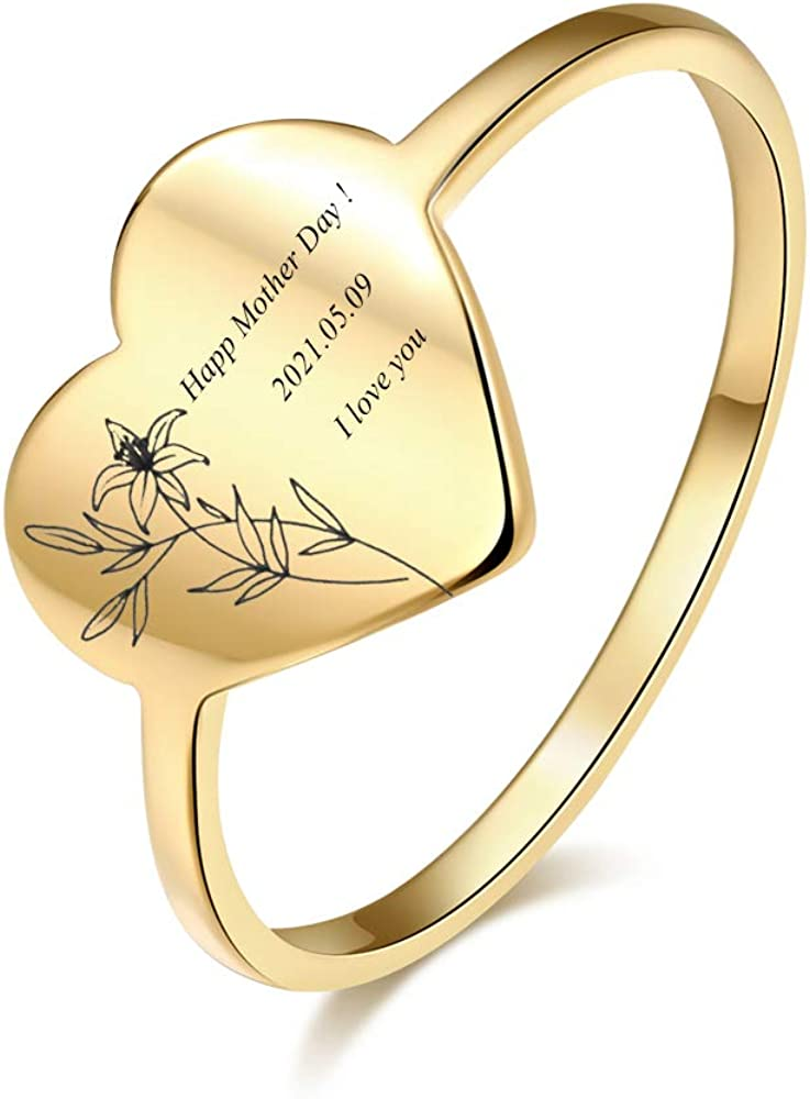 Birth Flower Ring Personalized Name Heart Ring Custom Name Plate Stacking Ring Engrave Any Names Initial Ring for Women Men Girl