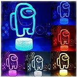 Among Us 3D Illusion Table Lamp, Hot Friends Game Among us Logo 3D Illusion Desktop Lamp Coffee Table Decor LED (1pc) (Lava Lamp Base)