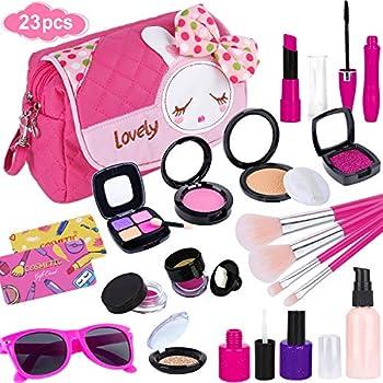 GiftInTheBox Pretend Makeup kit for Girls Kids Makeup Kit Toy Including Pink Princess Purse Sunglasses Lipstick Brush Lights Up Eye Shadows Nail Polish and More