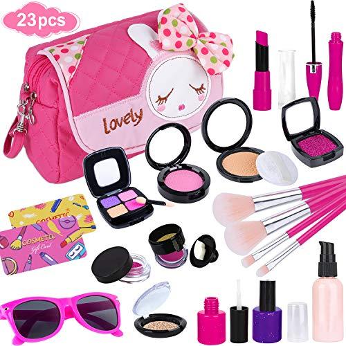 GiftInTheBox Pretend Makeup kit for Girls, Kids Makeup Kit Toy Including Pink Princess Purse, Sunglasses, Lipstick, Brush, Lights Up, Eye Shadows, Nail Polish and More
