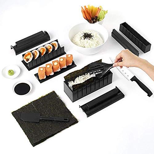 10 Stück Easy Sushi Maker Kit Tools Sushi Maker Set Küche DIY für Anfänger Box zum selber Machen inkl. Rezeptkarte auch als Geschenk (schwarz)