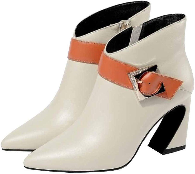 Damen Komfortable Anti-Slip Martin Stiefel Herbst Winter Damen Leder Stiefeletten Spitz Schnalle Arbeit Dienstprogramm Schuhe