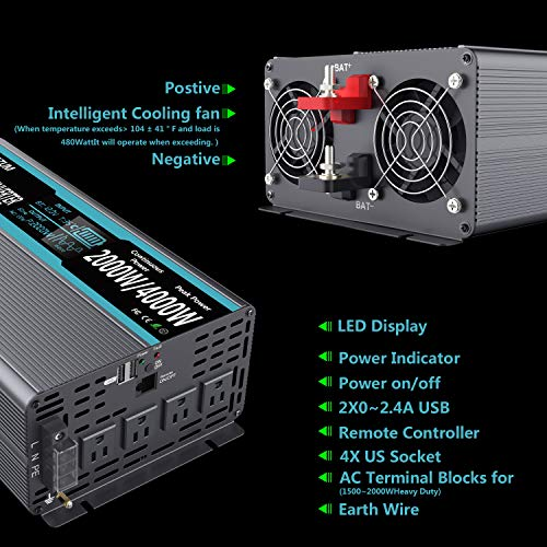 FLAMEZUM Power Inverter Pure Sine Wave 2000Watt 12V DC to 110V 120V Peak Power 4000Watt with Remote Control Dual AC Outlets and Dual USB Port for CPAP RV Car Solar System Emergency