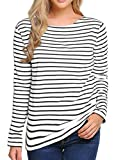 Women's Long Sleeve Striped T-Shirt Tee Shirt Tops Slim Fit Blouses (Medium, Black White)