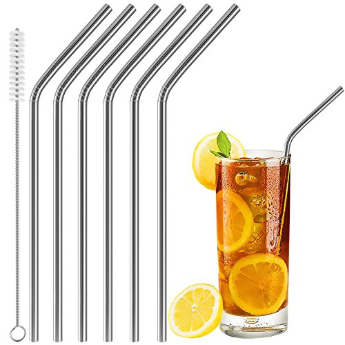 Acerich Set of 6 Stainless Steel Straws, Acerich Reusable Metal Straws for 30 oz & 20 oz Tumblers Cups Mugs Cold Beverage, Free Cleaning Brush Included