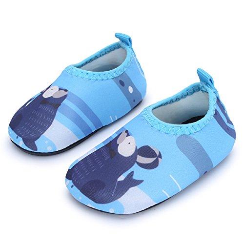 JIASUQI Baby und Kinder Athletische Turnschuhe Barfuß Wasser Schuhe für Strand Schwimmen Pool, Blaues Siegel 18-24 Monate