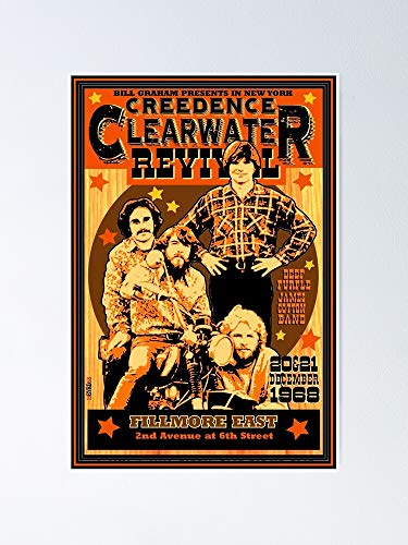 guyfam Vin-Tage Re-TRO CCR Concert Poster 12x16 Inch No Frame Board for Office Decor, Best Gift Dad Mom Grandmother and Your Friends