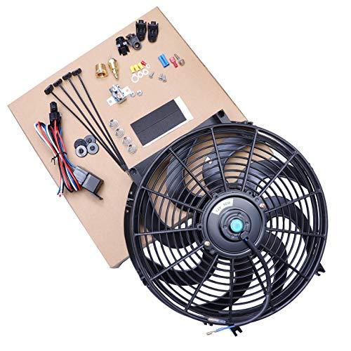CarBole Ventilador de refrigeración universal de alto rendimiento para radiador eléctrico de 14 pulgadas 90 W 12 V con ventilador de montaje de arnés de cableado Kit negro
