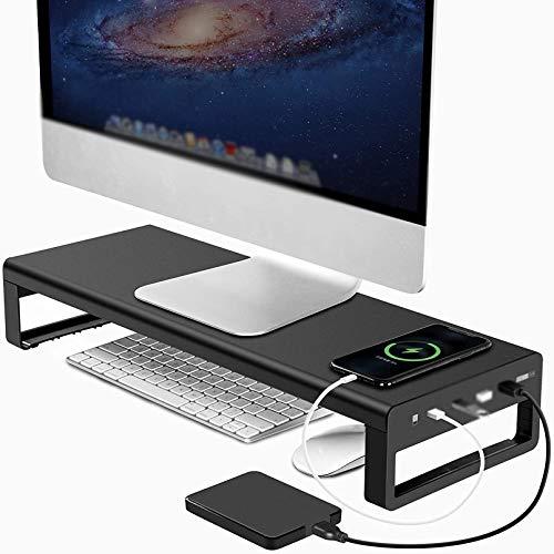 Cutfouwe Soporte De Monitor con USB, 4 USB 3.0 Hub Transporte De Soporte De Transferencia De Metal Aluminio USB Computadora Portátil Monitor De Soporte,Negro,21.3 * 7.9 * 3.5in
